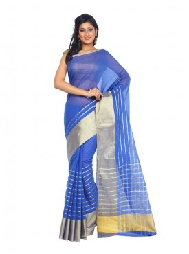Kataan Bazaar Royal Blue Color Banarasi Art Silk Saree