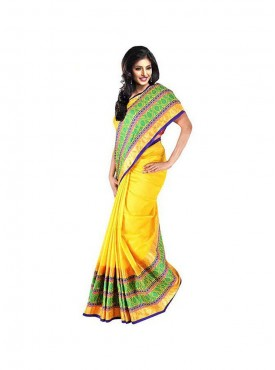Kataan Bazaar Yellow Color Banarasi Chanderi Saree