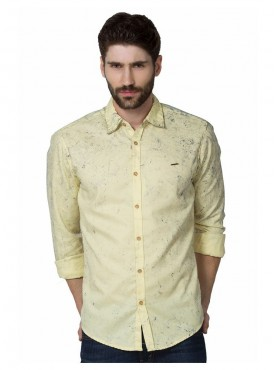 Shirt Men Yellow Color Cotton
