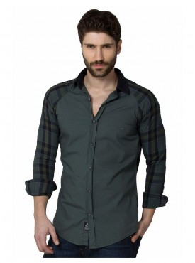 Shirt Men Green Color Cotton
