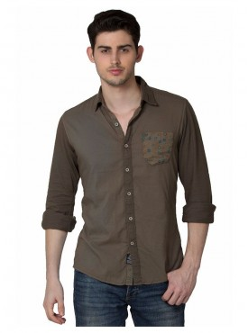 Shirt Men Brown Color Cotton