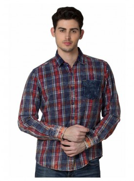 Shirt Men Red Color Cotton