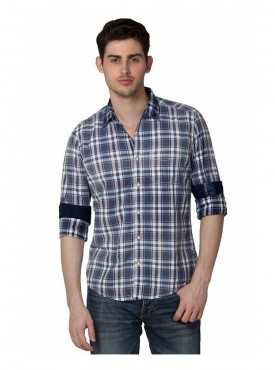 Shirt Men Blue Color Cotton