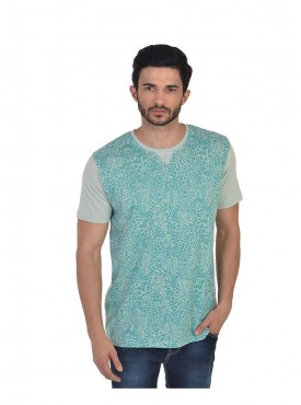 Men T-shirts Light Green Color Cotton