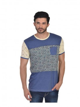 Men T-shirts Blue Color Cotton Linen