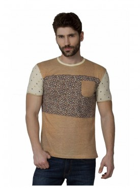 Men T-shirts Brown Color Cotton Linen