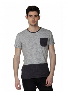 Men T-shirts Grey Color Polyester Cotton