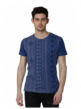 Men T-shirts Blue Color Cotton