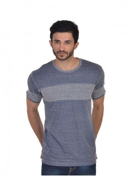 Men T-shirts Blue Color Polyester Cotton
