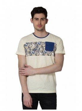 Men T-shirts Yellow Color Cotton Linen