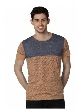 Men T-shirts Brown Color Cotton