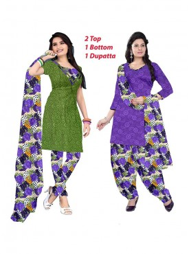 MAHENDI GREEN - PURPLE Color Suit