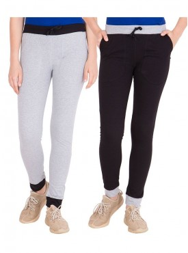 American-Elm Pack of 2 Women Cotton Track Pants-Grey, Black