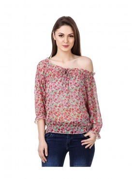 American-Elm Red Coloured Half Sleeve Women Top