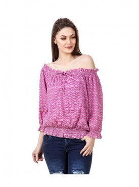 American-Elm Pink Coloured Half Sleeve Women Top