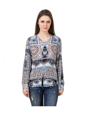 American-Elm Floral Print Multi Coloured Full Sleeve Women Top
