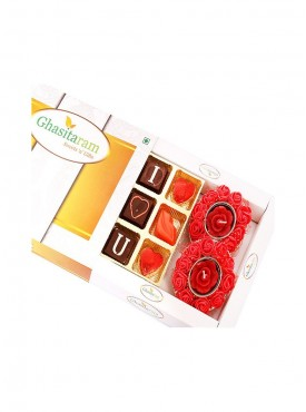 Special Valentine Chocolates with set of 2 Rose T- Lites