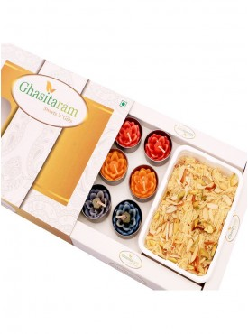 Mithai Hampers - Soan Papdi and Set of 10 T-Lites