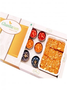 Mithai Hampers - Nani Special Besan Barfi and Set of 10 T-Lites