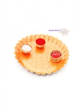 Pooja Thalis-Orange Metal Pooja Thali