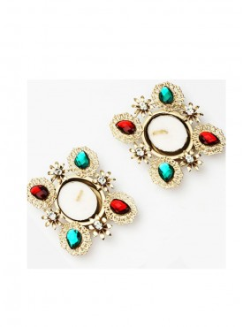 Set of 2 Multicolor Stone t-Lites