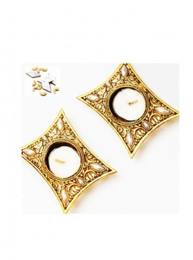 Set of 2 Golden Metal Rectangle T-Lite