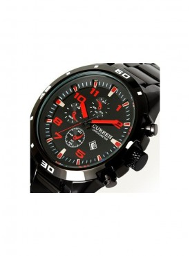 Curren Red Font Men Black Steel Watch