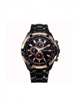 Curren Men Black Gold Metal Planet Ocean Analog Watch