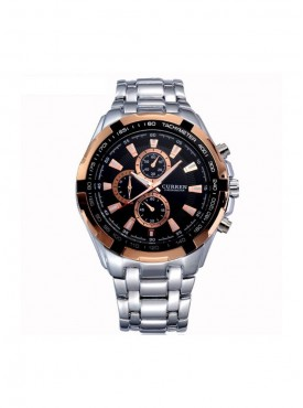 Curren Men Silver Gold Metal Planet Ocean Analog Watch