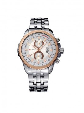 Curren Men Silver Rose Gold Metal Planet Ocean Analog Watch