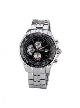 Curren Silver Black Metal Analog Watch with Display for Men
