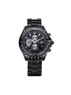 Curren Black Metal Analog Watch with Date Display for Men