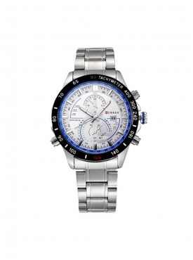 Curren White and Blue Silver Steel Watch With Date For Men