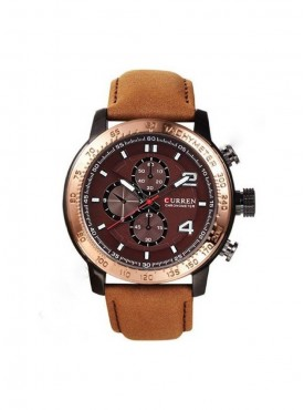 Curren Luxury Bronze Bezel Analog Brown Leather Watch For Men