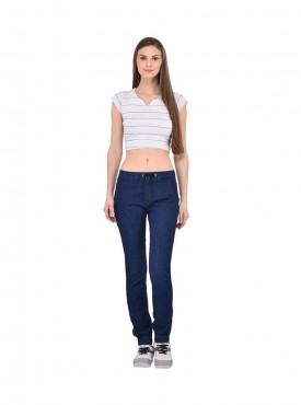 Ansh Fashion Wear Women Blue Strechable Denim Jogger