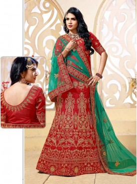 Shelina Red Color Embroidery Lehenga Choli