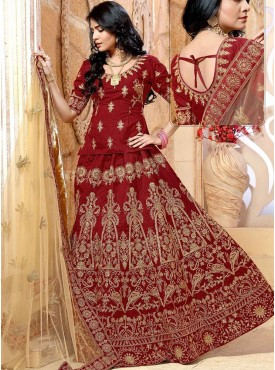 Shelina Maroon Color Embroidery Lehenga Choli