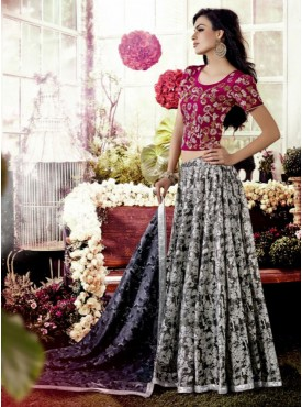 Shelina Pink and Black Color Embroidery Lehenga Choli