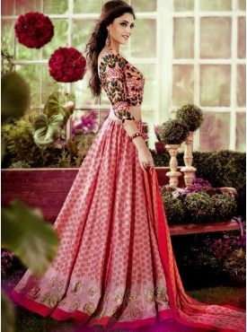 Shelina Peach Color Embroidery Lehenga Choli