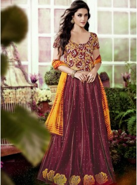 Shelina Maroon and Yellow Color Embroidery Lehenga Choli