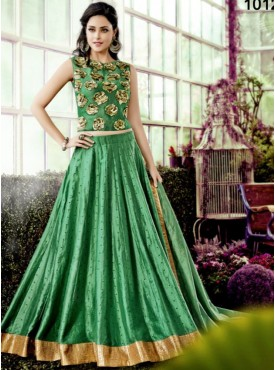 Shelina Green Color Embroidery Lehenga Choli