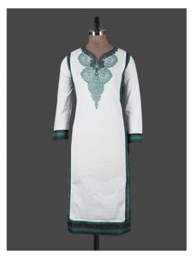 Crazora white printed cotton Kurti