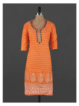Crazora embroidered neck orange ethnic printedKurti