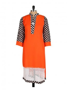 Crazora orange printed georgette Kurti
