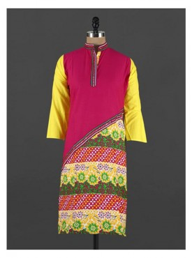 Crazora printed mandarin collar cotton Kurti