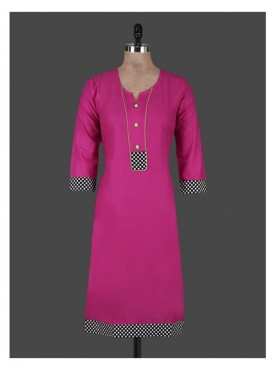 Crazora pink cotton Kurti