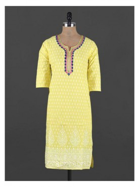 Crazora embroidered neck ethnic printed yellowKurti