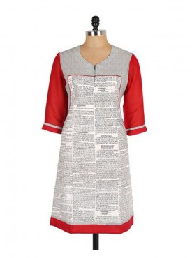 Crazora white newspaper print cotton Kurti