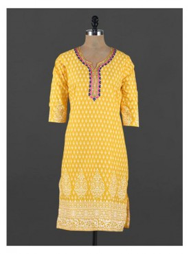 Crazora embroidered neck yellow ethnic printedKurti