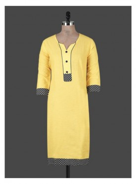 Crazora yellow cotton Kurti